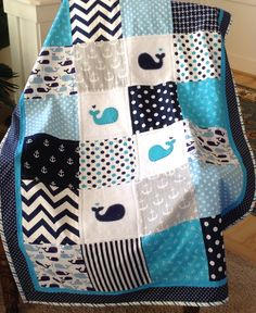 """TEAL/NAVY NAUTICAL/Crib Size Nautical Quilt 38"""" x 52"""" by Lovesewnseams on Etsy"""