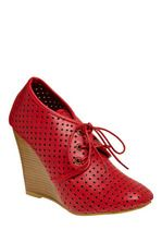 cherry red lace-up wedges with cutouts from modcloth $38