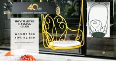 40 years celebration sale now on in Bryanston ! Garden Furniture, Outdoor Furniture, Lounge Suites, Deck Chairs, Wooden Decks, We Are The Ones, Terracotta Pots, 40 Years, Hanging Chair