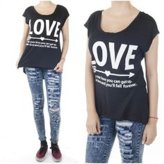 ebclo - Black Tee White LOVE Graphic Sleeveless Muscle Tee High-low Hem Top NEW $16.00 Free Domestic Shipping