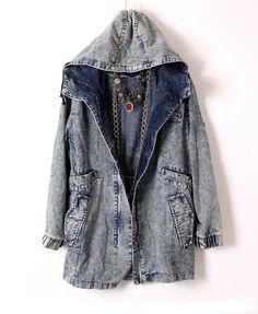 Longline Loose Denim Washed Hood Jacket with Drawstring Design
