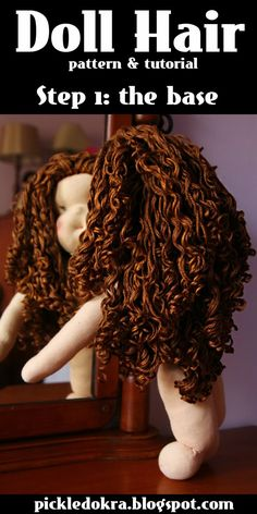 Pickled Okra:: Doll Hair: free pattern and tutorial-Step 1, The Base--making doll hair, making a doll wig