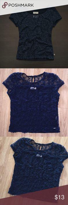 HOLLISTER lace navy blue tshirt shirt size medium HOLLISTER lace navy blue tshirt shirt size medium Hollister Tops