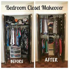 Bedroom Closet Makeover - Add storage and hanging space to a small closet using a ClosetMaid system Small Closet Organization, Laundry Room Storage, Clothing Organization, Clothing Racks, Organizing Small Bedrooms, Storage For Small Bedrooms, Clothes Storage Ideas For Small Spaces, Small Closet Storage, Closet Shelving