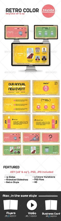 Buy Retro Color Powerpoint Presentation by AgenceMe on GraphicRiver. ALSO IN THE SAME STYLE A Good presentation for a Agency or any type of business or event. Easy to change colors, tex. Ppt Design, Slide Design, Layout Design, Business Presentation, Presentation Templates, Presentation Slides, Video Fx, Retro Color, Retro Style