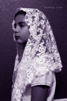 Vintage chapel mantilla veil. This would be perfect with our daughter's vintage communion dress!