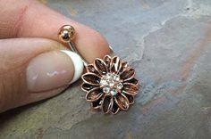 Rose Gold Belly Button Rings Sunflower Belly Ring by MidnightsMojo