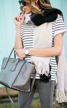Striped tee and scarf Ily Couture, Couture Fashion, Women's Fashion, Fashion Outfits, Hello Fashion Blog, Fashion Bloggers, Pretty Clothes, Pretty Outfits, Autumn Winter Fashion