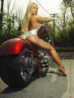Blonde on Fat Tire Red Motorcycle  **VIEW MORE Girls and Motorcycles at http://blog.lightningcustoms.com/tag/girls-and-motorcycles/  #girlsandmotorcycles #motorcycles #motorcyclepictures