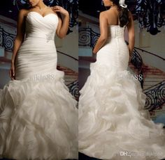 2014 Custom Mermaid Wedding Dress Plus Size Sexy Sweetheart Strapless Beautifully Ruffled Organza Bridal Gown Lace Up Online with $108.85/Piece on Hjklp88's Store