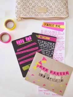 Envelope address: washi tape mini banner. And neon snail mail.
