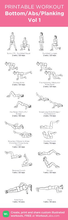 Bottom/Abs/Planking Vol 1: my visual workout created at WorkoutLabs.com • Click through to customize and download as a FREE PDF! #customworkout