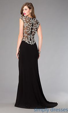 Shop beaded long cap sleeve black Elizabeth K formal gowns at SimplyDresses. Floor length jewel encrusted illusion mesh prom dresses for parties.