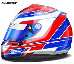 """""""Helmet design for Mikkel C. Henriksen.  Based with blue glitter flakes, red with white and grey pinstripes, and white with light blue pinstripes.  Check…"""""""