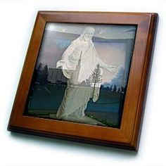 Savior, Jesus Christ Holding Out His Arms to Anyone Who Wants to Be Like Him in a Double Exposure Framed Tile