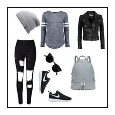 """""""CUTE OUTFIT"""" by jdmsreble ❤ liked on Polyvore featuring WithChic, IRO, Boohoo, The North Face, NIKE and MICHAEL Michael Kors"""