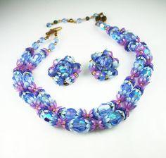 Vintage Deauville Necklace Earrings Purple Blue Lucite Flower Petals Aurora Borealis Glass Bead Jewelry Set