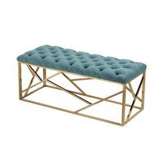 Oliver Blue Pebbled Velvet Long Bench