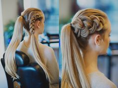 place the hair into a ponytail then create a Dutch braid on the right side of the head