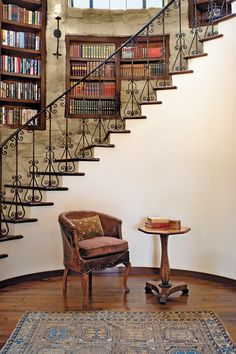 Library on stairs--kind of cool