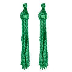 Green Seed Bead Long Tassel Earrings by Kenneth Jay Lane at HAUTEheadquarters.com - Kenneth Jay Lane Jewelry Online