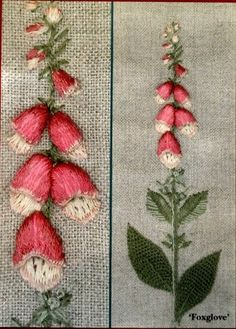 embroidered foxgloves