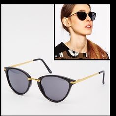 Oval Cat Eye Sunglasses w/ Metal Nose Bridge Be on Trend and get ready for the warm weather with these chic cat eye shades, brand new never used.  Lightweight frames with metal nose bridge, Moulded nose pads for added comfort, Dark tinted lenses, Slim arms with curved temple tips for a secure fit and Total UV Protection. ASOS Accessories Sunglasses