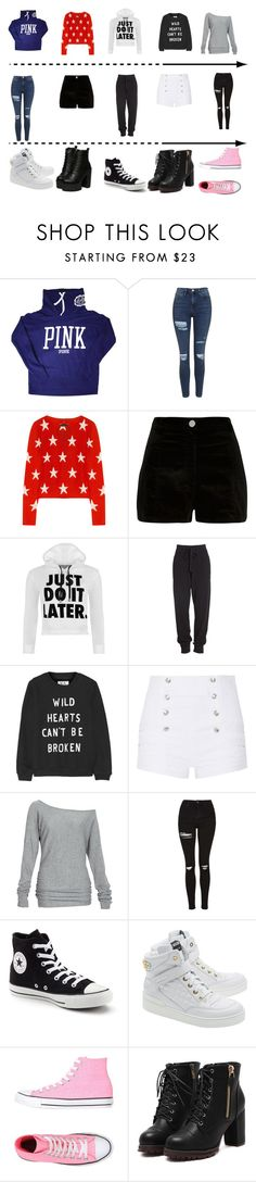 """""""Mix and Match"""" by anime21lover on Polyvore featuring Victoria's Secret, Topshop, Banjo & Matilda, River Island, WearAll, Donna Karan, Zoe Karssen, Pierre Balmain, Alloy Apparel and Converse"""