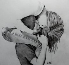 A drawing of a girl and a guy kissing . That is SO sweet!!!!