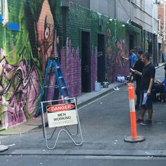 New artwork going in at Uniacke crt in little Bourke st will miss the old work by @deb  #melbourne #city #streetart