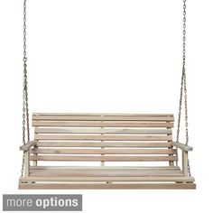 Acasia Wood Bench Swing with Chain   Overstock.com Shopping - The Best Deals on Hammocks/Swings