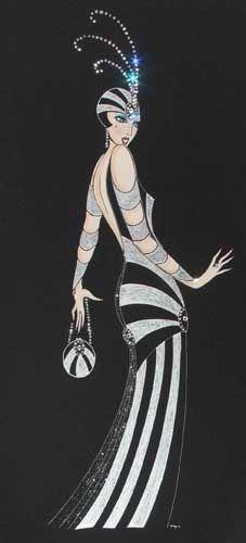 Art Deco Lady - Tallulah - Painting by Diane (Di) Melville Kaye