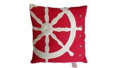 Red Ship Wheel Nautical Pillow with Rivets