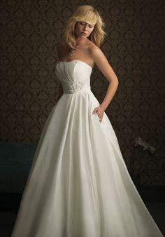 A Line Strapless Floor Length Attached Silk Like Taffeta Wedding Dress Style