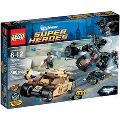 It is time for Batman to chase Bane adventure with this Lego Batman the Bat versus Bane Tumbler Chase set. This set includes 3 mini figures : Batman, Bane and Police Commissioner Gordon. Batman Vs, Lego Batman, Superman, Lego Marvel, Lex Luthor, Face Off, Gotham City, Bane, Lego City