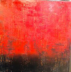 """""""Red alert"""" atelier linda deckers  100x100 acryl op linnen ."""