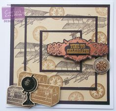 Clairebears (1 of 2) - Time Gone By Stamp Set: Plane, Compass, Watch, Suitcases, Globe, Frame and Time to Celebrate Sentiment -  Neenah Desert Storm Card - Matt Black Card - Memento Espresso Truffle Ink Pad - Versamark Sepia ink pad - Ranger Perfect Medium ink pad - Copper, Gold and Black embossing powder - Glossy Accents - #crafterscompanion