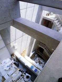 Tadao Ando / Atelier in Oyodo, Osaka Concrete Architecture, Space Architecture, Residential Architecture, Amazing Architecture, Tadao Ando, Japan Interior, Man Of The House, Interesting Buildings, Office Interiors