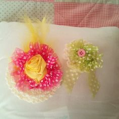 Handmade Brooch Organza Ribbon Crocheted, Accessories, For Weddings Occasion  £6.00