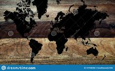 Wood Table Background, Wood World Map, Technology Background, Continents, Cyber, Moose Art, Abstract, Creative, Illustration