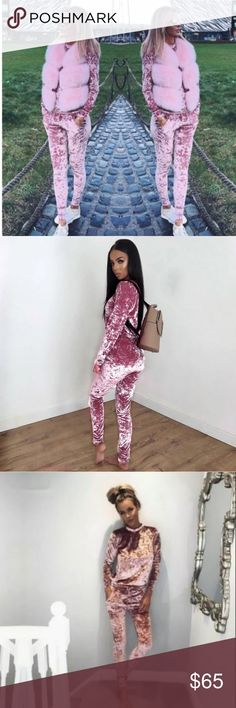 Light pink crushed velvet two piece track suit Light pink super soft and cozy two piece track suit. Fits true to size. Crushed velvet. Trendy sweat suit, can be worn in the house our out! This is a lounge wear must! Pants Track Pants & Joggers