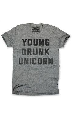 young drunk unicorn tee