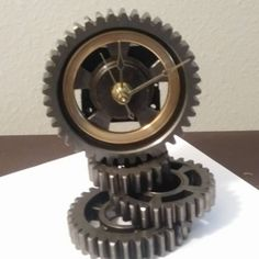 Desk clock made from motorcycle transmission gears