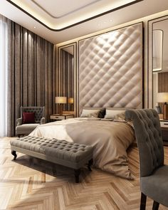 Nightstands, beds, side tables, cabinets or armchairs are some of the luxury bedroom furniture tips that you can find. Every detail matters when we are decorating our master bedroom, right? Luxury Bedroom Furniture, Master Bedroom Interior, Luxury Bedroom Design, Luxury Rooms, Master Bedroom Design, Luxurious Bedrooms, Bedroom Decor, Furniture Design, Interior Design