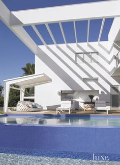 Modern White Deck with Tile Clad Pool