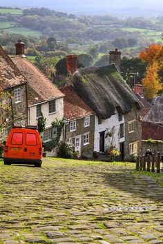 Dorset, England. This is Gold Hill in Shaftesbury, looking over the Blackmore Vale.