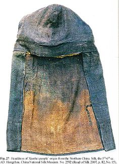 Early Turks: Male Costume in the Chinese Art, Second half of the 6th – first half of the 8th cc. ~ headdress of Xianbei people from Northern China ~ silk, 5th - 6th c AD, Hangzhou, China National Silk Museum