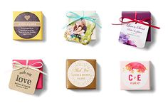 six ways to use gift tags and stickers for your wedding favors with photos personalization, monogram and ribbon