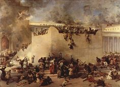 """Click photo to download. Caption: The destruction of the Temple of Jerusalem, oil on canvas, by Francesco Hayez. Both the first and second iterations of the """"Beit HaMikdash"""" were razed on Tisha B'Av, hundreds of years apart. Credit: Francesco Hayez."""