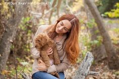 Labradoodle puppy with redhead mommy.
